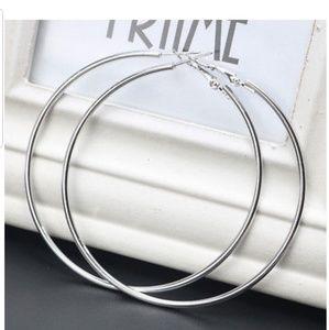 Jewelry - Large Silver Plated Hoop Earrings